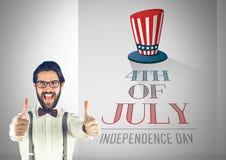 Homme d'affaires avec des pouces contre l'illustration pour le 4ème juillet Photos stock