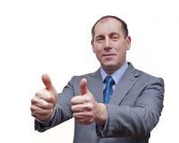 Homme d'affaires avec des pouces vers le haut Image libre de droits