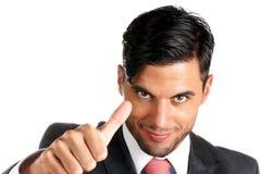 Homme d'affaires avec des pouces vers le haut Photographie stock