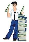 Homme d'affaires avec des reliures pleines des documents Images libres de droits