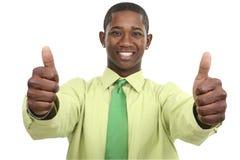 Homme d'affaires avec deux pouces vers le haut Photos stock