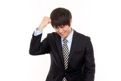 Homme d'affaires avec douleur de tension Photographie stock