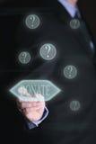 Homme d'affaires avec l'écran tactile, donation de concept photographie stock