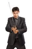 Homme d'affaires avec l'épée de katana Image libre de droits
