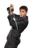 Homme d'affaires avec l'épée de katana Photos libres de droits