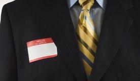 Homme d'affaires avec l'étiquette nommée Images stock