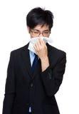 Homme d'affaires avec l'allergie de nez photos libres de droits