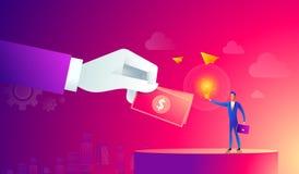 Homme d'affaires avec l'ampoule et toute autre main donnant l'argent crowdfunding, innovation, idée, concept d'investissements St illustration stock