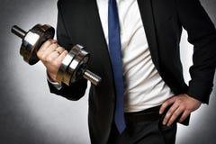 Homme d'affaires avec l'haltère images libres de droits