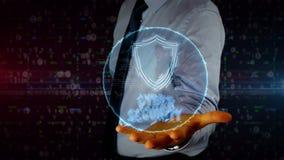 Homme d'affaires avec l'hologramme de bouclier banque de vidéos