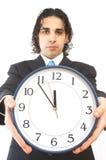 Homme d'affaires avec l'horloge photos stock