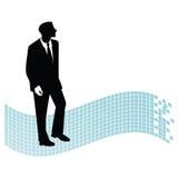 Homme d'affaires avec l'indicateur géométrique derrière Photo stock