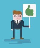 Homme d'affaires avec l'OK de plat Photographie stock libre de droits