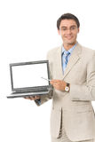 Homme d'affaires avec l'ordinateur portatif, d'isolement Photo stock