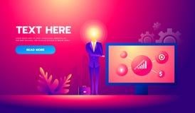 Homme d'affaires avec la bande dessinée principale d'idée d'ampoule Homme d'affaires avec l'idée travaillant à présenter le proje illustration de vecteur