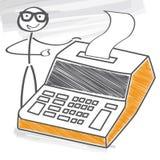 Homme d'affaires avec la calculatrice de bureau