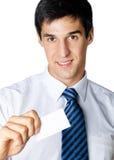 Homme d'affaires avec la carte de visite professionnelle de visite photos stock