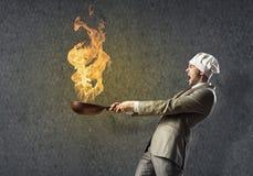 Homme d'affaires avec la casserole Photographie stock libre de droits