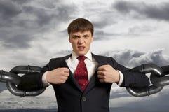 Homme d'affaires avec la chaîne énorme Images libres de droits