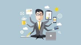 Homme d'affaires avec la compétence multitâche et multi clips vidéos