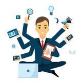 Homme d'affaires avec la compétence multitâche et multi Gardez le calme Concept d'affaires Style plat illustration de vecteur