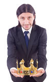 Homme d'affaires avec la couronne Photo stock