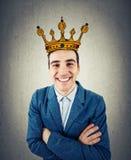 Homme d'affaires avec la couronne Photographie stock libre de droits
