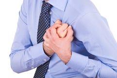 Homme d'affaires avec la crise cardiaque. Photos stock