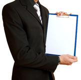 Homme d'affaires avec la feuille de papier Photographie stock libre de droits
