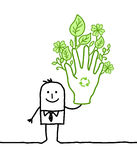Homme d'affaires avec la grande main verte Image stock