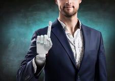 Homme d'affaires avec la main robotique Concept de prothèse rendu 3d Photographie stock libre de droits