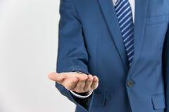 Homme d'affaires avec la main vide Photographie stock