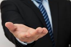 Homme d'affaires avec la main vide Images libres de droits
