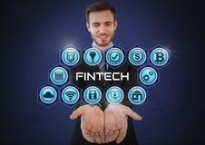 Homme d'affaires avec la paume de mains ouverte et Fintech avec de diverses icônes d'affaires Image stock