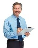 Homme d'affaires avec la planchette Photographie stock libre de droits