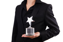 Homme d'affaires avec la récompense d'étoile Photos libres de droits