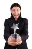 Homme d'affaires avec la récompense d'étoile d'isolement Images libres de droits