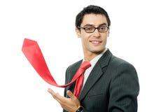 Homme d'affaires avec la relation étroite rouge images libres de droits