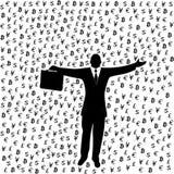 Homme d'affaires avec la serviette restant sous la pluie de devises illustration libre de droits