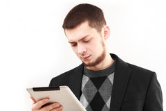 Homme d'affaires avec la tablette Images libres de droits