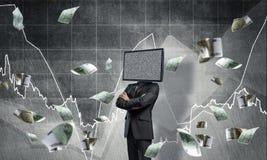 Homme d'affaires avec la TV au lieu de la tête Image stock