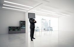 Homme d'affaires avec la TV au lieu de la tête Photographie stock libre de droits