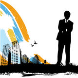 Homme d'affaires avec la ville urbaine illustration libre de droits