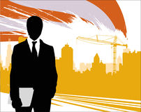 Homme d'affaires avec la ville urbaine illustration de vecteur