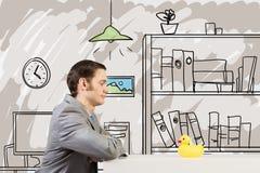 Homme d'affaires avec le canard Image libre de droits