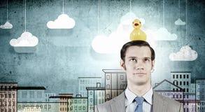 Homme d'affaires avec le canard Image stock
