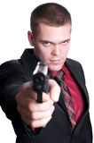 Homme d'affaires avec le canon Photographie stock libre de droits