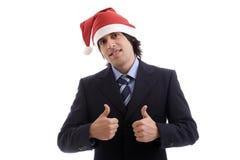Homme d'affaires avec le chapeau de Noël Images libres de droits