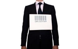Homme d'affaires avec le code barres, d'isolement sur le blanc Images libres de droits