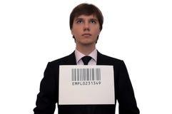 Homme d'affaires avec le code barres, d'isolement sur le blanc Images stock
